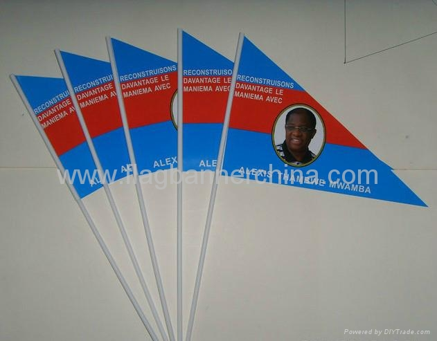 triangular small hand flag triangle stick flag - china