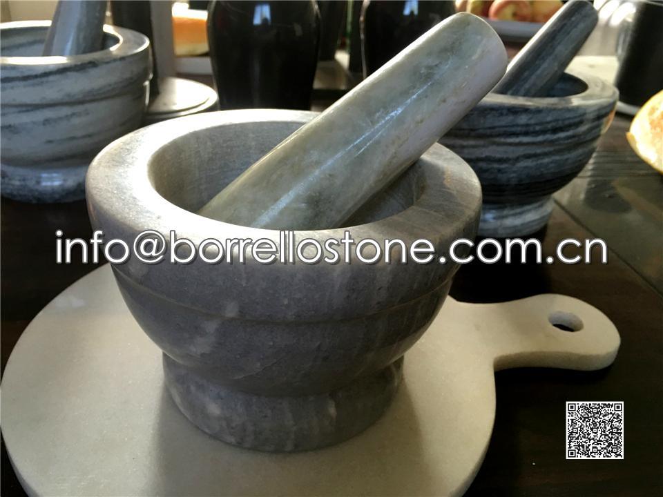 Grey Marble Mortar & Pestle