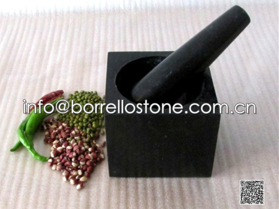 Black Granite Mortar & Pestle