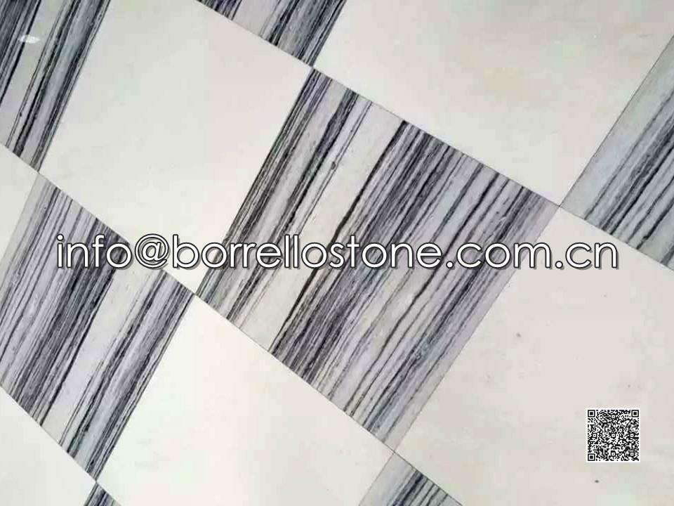 Strip Grey Marble Flooring Tiles