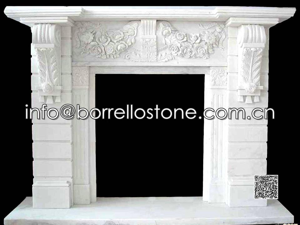 White Marble Fireplace - 01