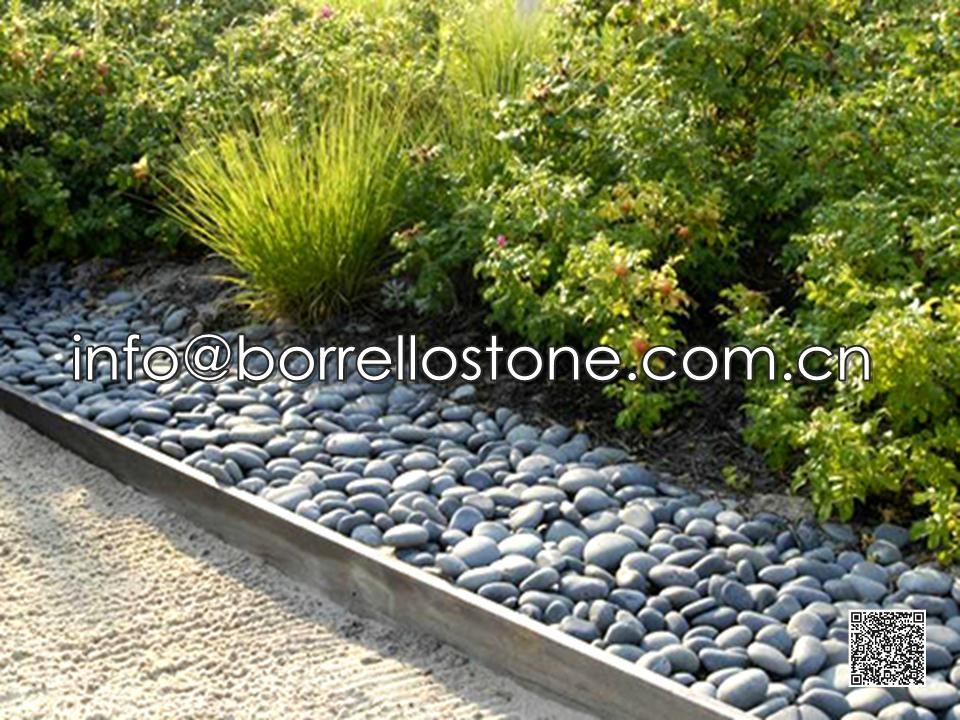 Flat Dark Grey Pebble For Landscaping