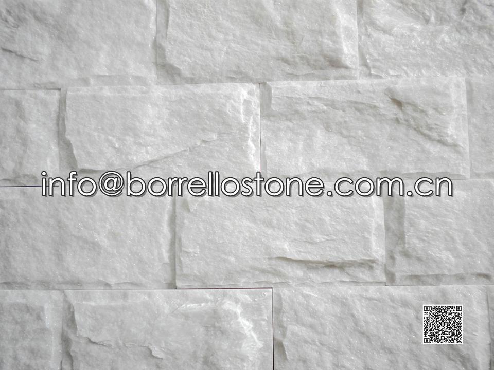 Split Face - White Marble Stacked Veneer