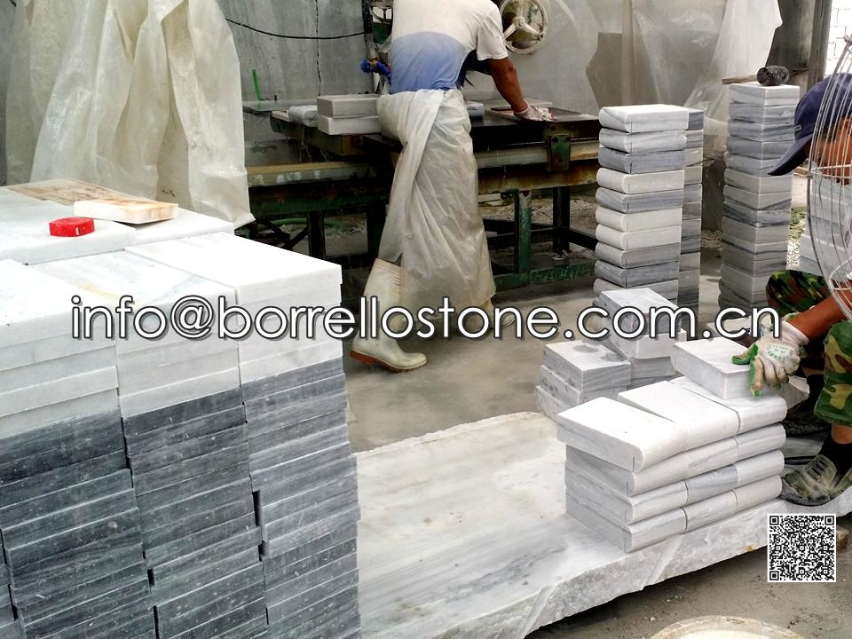 Grey Marble Swimming Pool Toping Tiles With Edges Carving