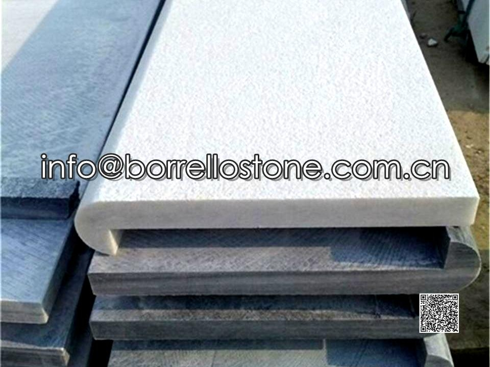 White Marble Swimming Pool Toping Slabs With Edges Carving