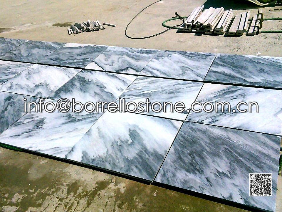 Grey Marble Medallion Tiles (Flamed & Brushed)
