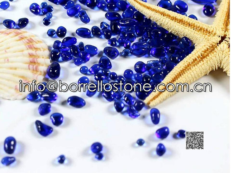 Irregular glass beads - Cobalt blue