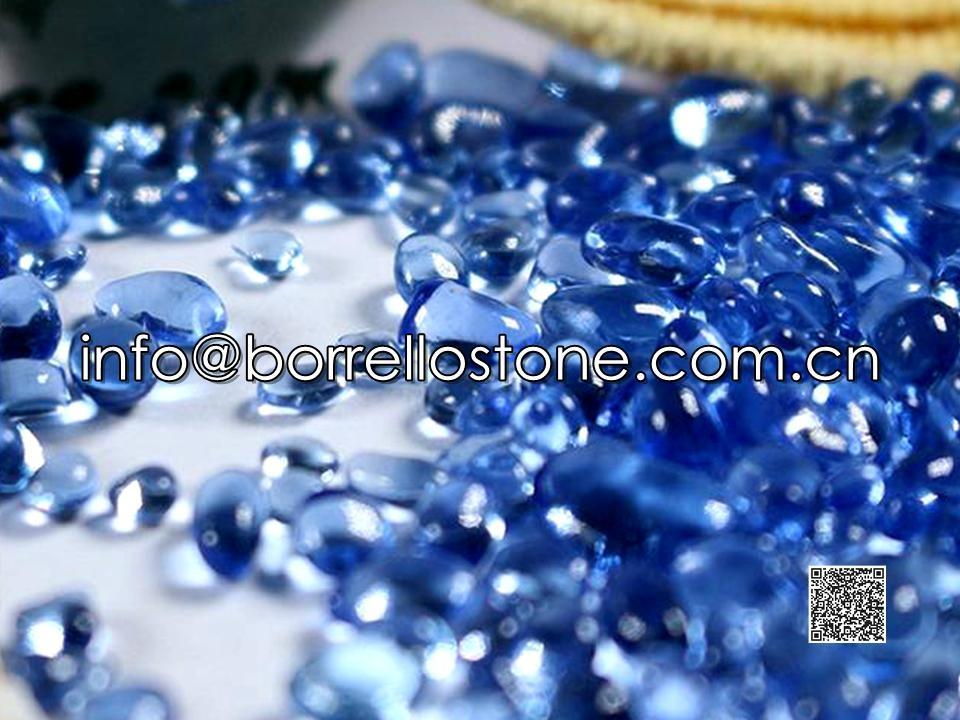 Irregular glass beads - Sky blue