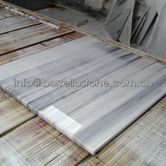 white & grey marble tile