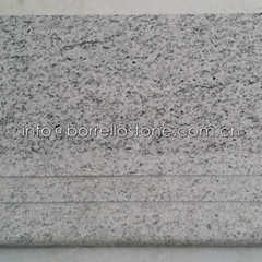 white granite step stair