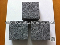 bush hammered black granite paver
