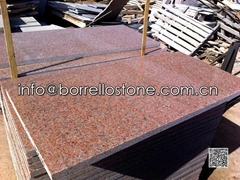 polished red granite til