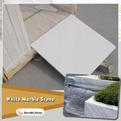 sandblasted white marble tile