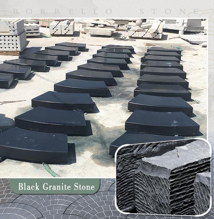 black granite block steps 1