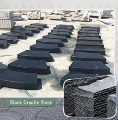black granite block steps