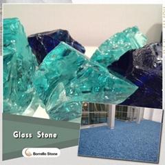 crushed blue glass block