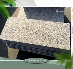 flamed pink granite paving slab