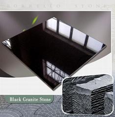 China jet black granite tile