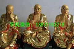 河北省坐像十八羅漢佛像貼金