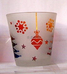 Rich color spray color embossed candle cup