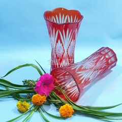 Factory Direct handmade modern art kiriko yellow crystal crafts vase