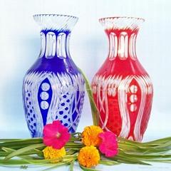 高檔手工雕刻水晶工藝玻璃花瓶