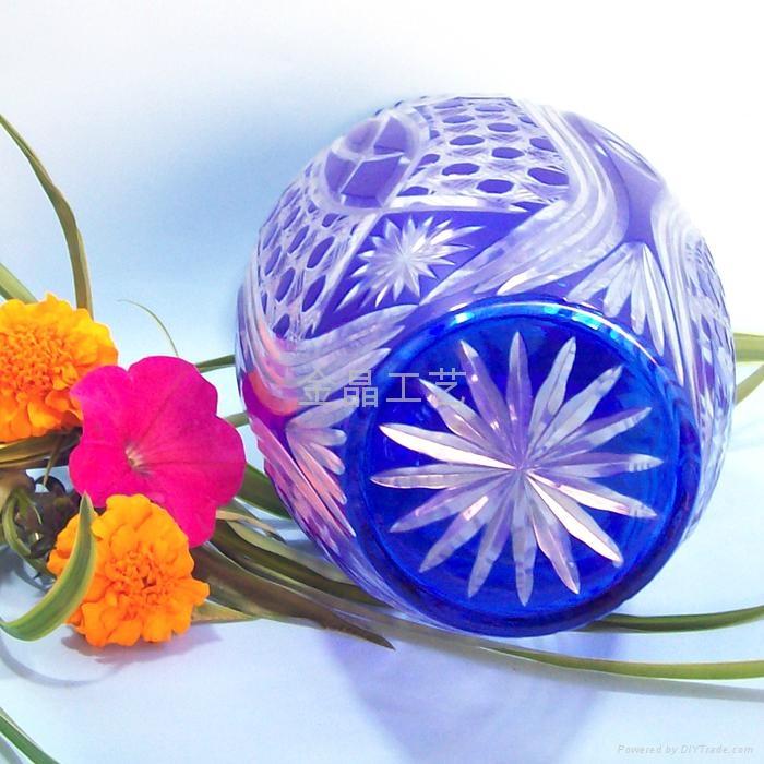 Factory Direct handmade modern art kiriko yellow crystal crafts vase 2