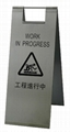 Floor Warning Sign; Stainless steel;