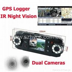 dual lens night vision car black box with gps logger and G-Sensor