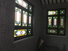 实木原色玻璃搭配精美家居仿古满洲仿古门窗