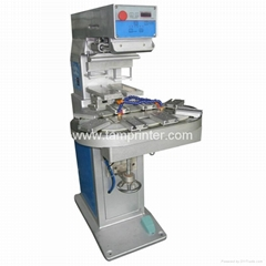 Two color pad printer with conveyor