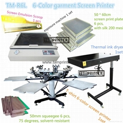 6-Color Manual Carousel Textile Screen Printing Machine TM-R6k