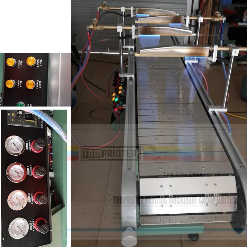 Flame treatment machine with 4 Air-Gas burner