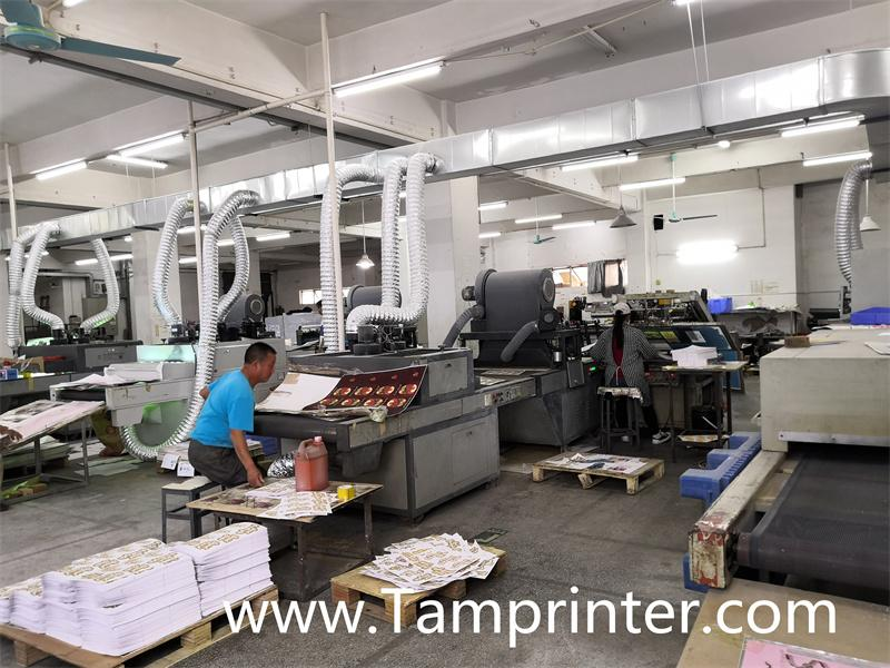 Gold glitter powder greeting card auto screen printing machines 4