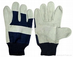 Knitted wrist leather palm gloves
