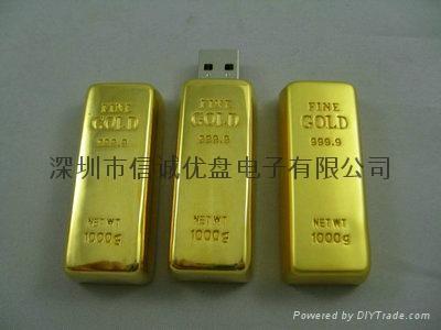 金条造型USB 金砖u盘定制 商务礼品u盘 深圳u盘工厂 2