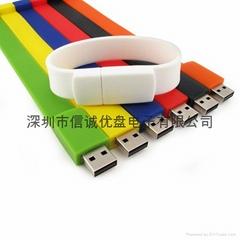手腕带u盘定制 深圳u盘工厂批发 手腕USB随身碟 创意u盘