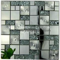 white + black crystal glass mosaic mix stainless mosaic for wall decoration
