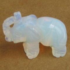 Elephant gemstone opalite statue