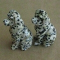 Natural dalmatian jasper dog figurines