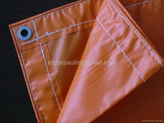 waterproof Fireproof Orange pvc laminated tarpaulin tarps