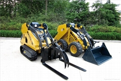 Wheeld mini excavator KUBOTA diesl engine mini skid steer loader