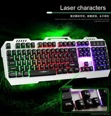 Fake mechanical gaming wired keyboard 7 breathing colors lighting steel cover