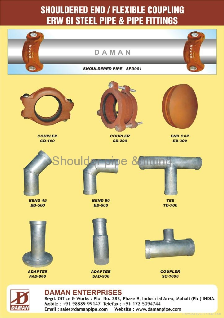 Water supply shoulder end erw gi steel pipe and fittings for House water pipes types