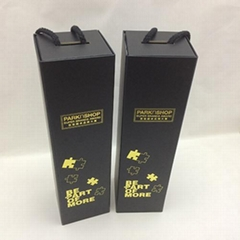 Black Single Bottle Wine Box Flat Pack Folding Wine Boxes