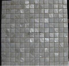 純白色正方形淡水貝馬賽克室內裝修材料