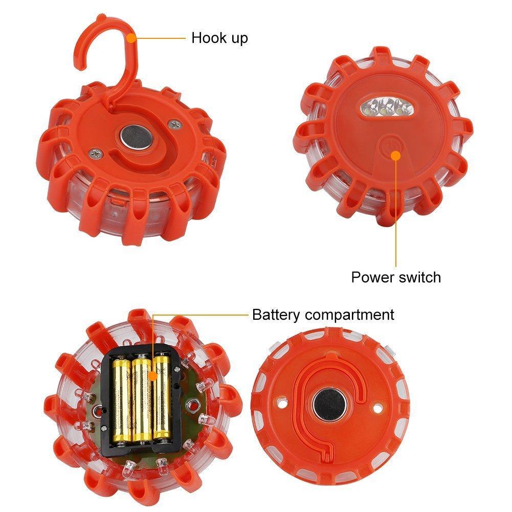 3 pack Flashing LED Emergency Traffic Safety Road Flare Warning Light 6