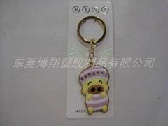 pvc卡通小猪水晶钥匙扣