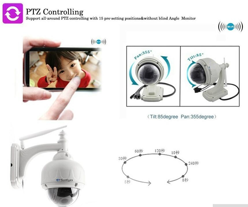 720P 1.0 MegaPixel HD PTZ IP Camera Wifi Wireless Outdoor Dome cctv camera  4