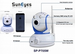 SUPER MINI ROBOT IP CAMERA  1.0MP Pixels  , Wireless, P2P,  Two way Audio,